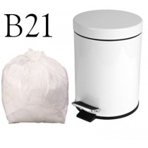 "White Pedal Bin Liner on a Roll - 11 x 18 x 18"" - B21 - Case of 1000"