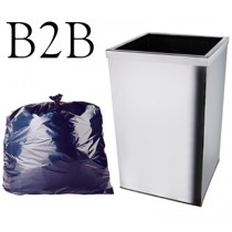 "Black Square Bin Liner - 15 x 24 x 24"" - B2B - Case of 500"