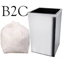 "White Square Bin Liner - 15 x 24 x 24"" - B2C - Case of 1000"
