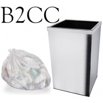 "Clear Square Bin Liner - 15 x 24 x 24"" - B2CC - Case of 500"