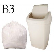 "White Swing Bin Liner 13 x 22 x 30"" - B3 - Case of 1000"