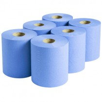 Blue 2-Ply Centrefeed 150m Rolls - Case of 6