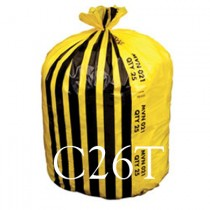 "Yellow Tiger Stripe Refuse Sack - 18 x 28 x 39"" - C26T - Case of 200"