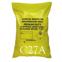 """Yellow Clinical Waste Sack - 29 x 39"""" - C27A - Case of 200"""