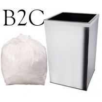 """White Square Bin Liner - 15 x 24 x 24"""" - B2C - Case of 1000"""